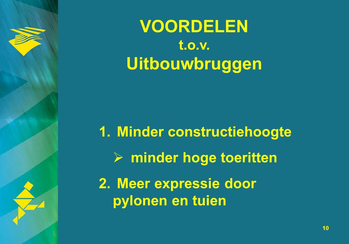 10 VOORDELEN t.o.v. Uitbouwbruggen 1. Minder constructiehoogte  minder hoge toeritten 2. Meer expressie door pylonen en tuien