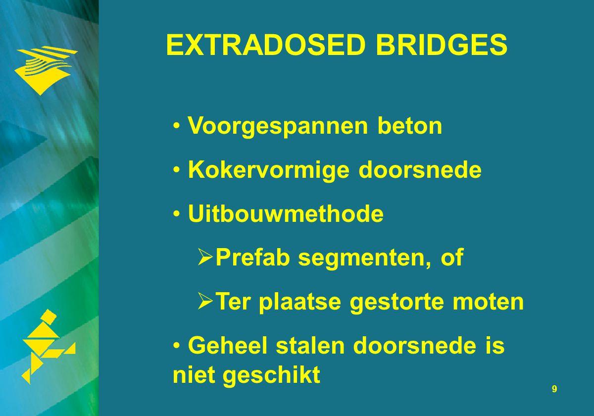 9 EXTRADOSED BRIDGES Voorgespannen beton Kokervormige doorsnede Uitbouwmethode  Prefab segmenten, of  Ter plaatse gestorte moten Geheel stalen doors