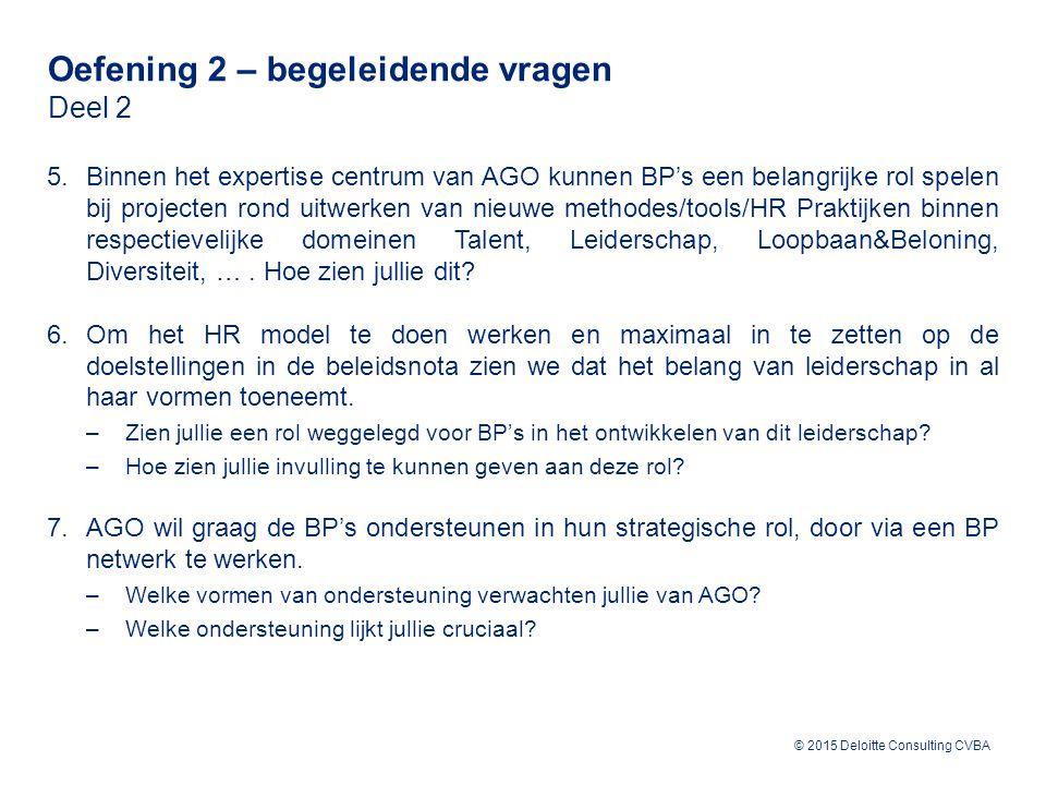 © 2015 Deloitte Consulting CVBA 5.Binnen het expertise centrum van AGO kunnen BP's een belangrijke rol spelen bij projecten rond uitwerken van nieuwe