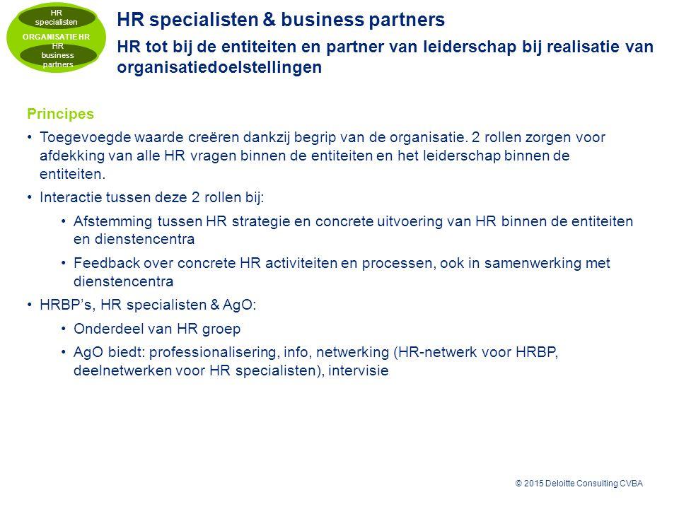 © 2015 Deloitte Consulting CVBA HR specialisten & business partners HR tot bij de entiteiten en partner van leiderschap bij realisatie van organisatiedoelstellingen Principes Toegevoegde waarde creëren dankzij begrip van de organisatie.