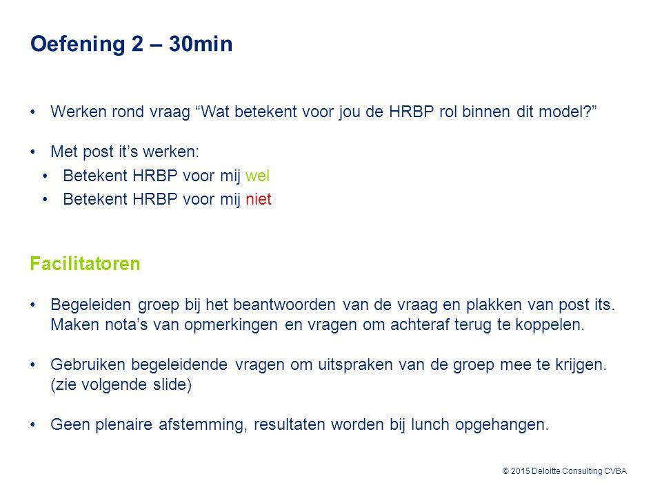 © 2015 Deloitte Consulting CVBA Werken rond vraag Wat betekent voor jou de HRBP rol binnen dit model Met post it's werken: Betekent HRBP voor mij wel Betekent HRBP voor mij niet Facilitatoren Begeleiden groep bij het beantwoorden van de vraag en plakken van post its.
