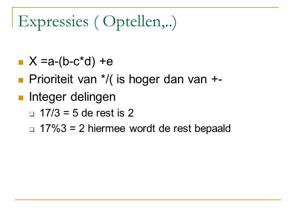 Expressies ( Optellen,..) X =a-(b-c*d) +e Prioriteit van */( is hoger dan van +- Integer delingen  17/3 = 5 de rest is 2  17%3 = 2 hiermee wordt de