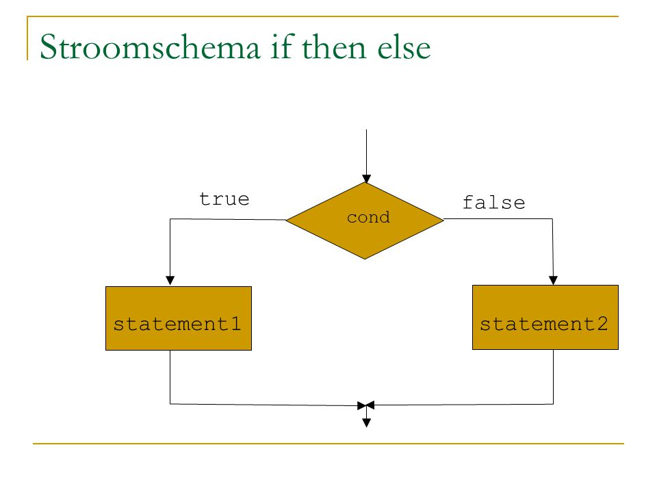 Stroomschema if then else cond statement1statement2 true false