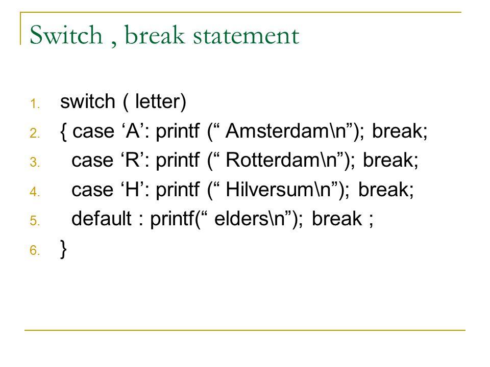 """Switch, break statement 1. switch ( letter) 2. { case 'A': printf ("""" Amsterdam\n""""); break; 3. case 'R': printf ("""" Rotterdam\n""""); break; 4. case 'H': p"""