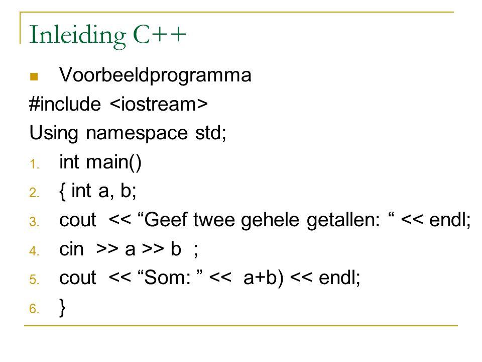 """Inleiding C++ Voorbeeldprogramma #include Using namespace std; 1. int main() 2. { int a, b; 3. cout << """"Geef twee gehele getallen: """" << endl; 4. cin >"""