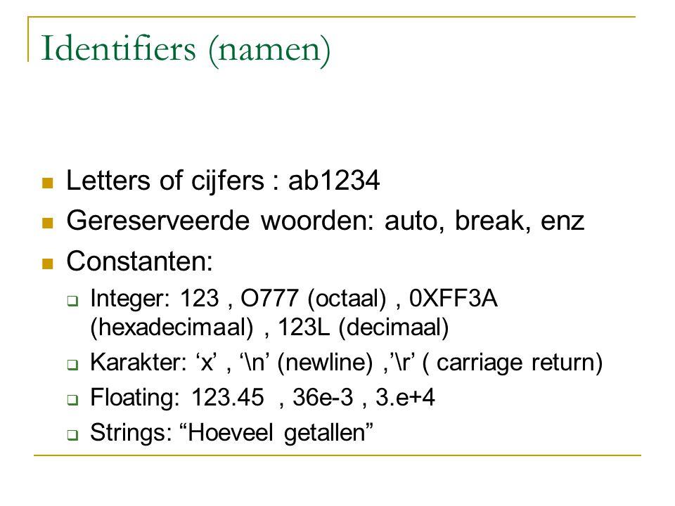 Identifiers (namen) Letters of cijfers : ab1234 Gereserveerde woorden: auto, break, enz Constanten:  Integer: 123, O777 (octaal), 0XFF3A (hexadecimaa