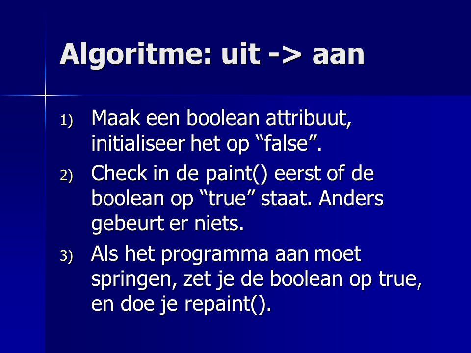 Algoritme: uit -> aan 1) Maak een boolean attribuut, initialiseer het op false .