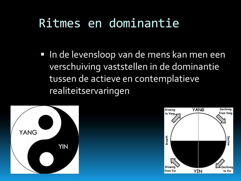 Ritmes en dominantie  In de levensloop van de mens kan men een verschuiving vaststellen in de dominantie tussen de actieve en contemplatieve realitei