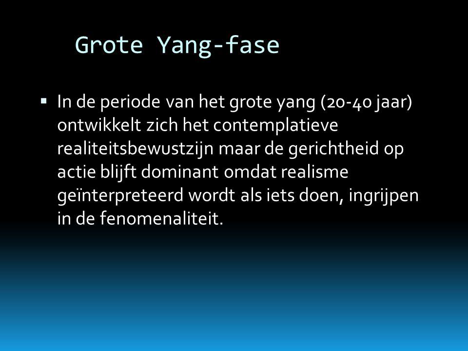 Grote Yang-fase  In de periode van het grote yang (20-40 jaar) ontwikkelt zich het contemplatieve realiteitsbewustzijn maar de gerichtheid op actie b