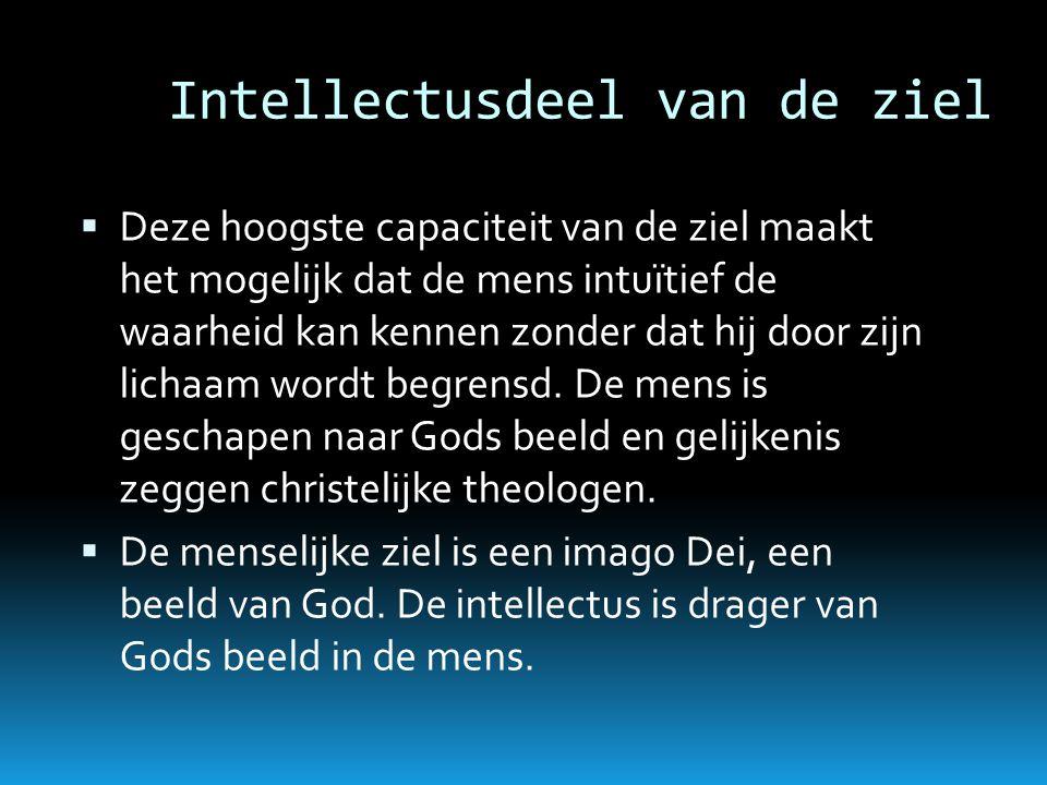 Intellectusdeel van de ziel  Deze hoogste capaciteit van de ziel maakt het mogelijk dat de mens intuïtief de waarheid kan kennen zonder dat hij door