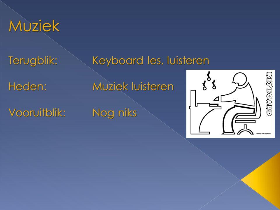 Muziek Terugblik:Keyboard les, luisteren Heden:Muziek luisteren Vooruitblik:Nog niks
