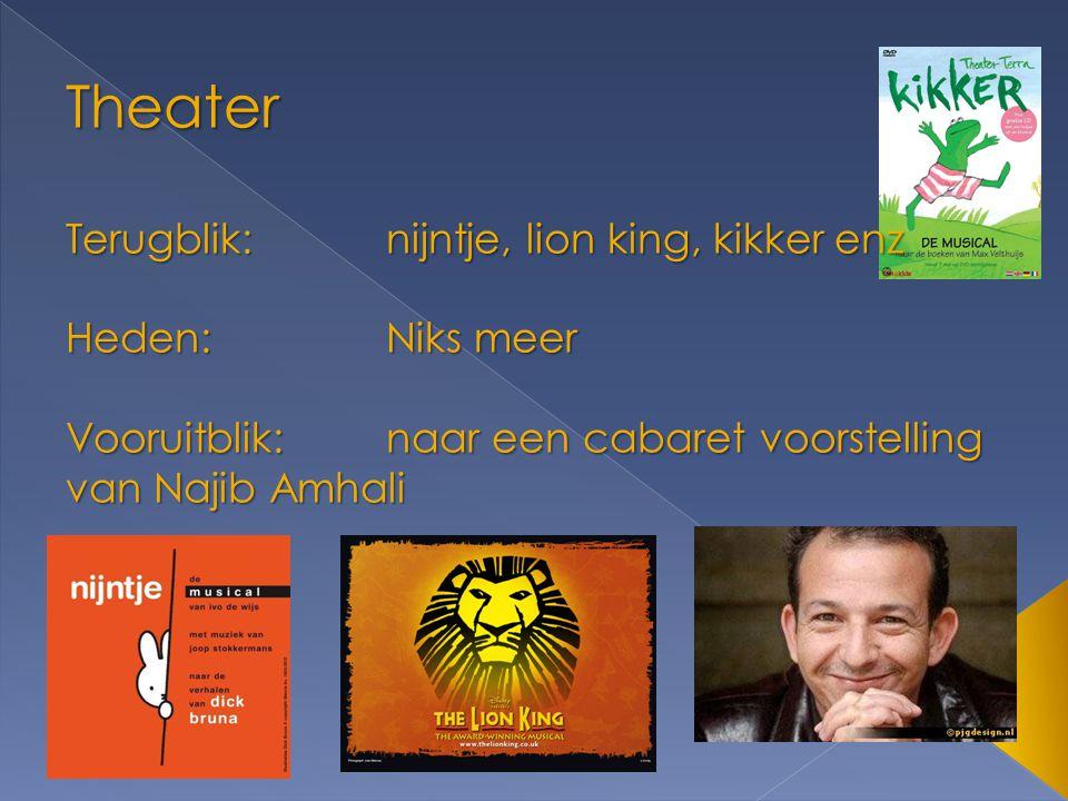 Theater Terugblik:nijntje, lion king, kikker enz Heden:Niks meer Vooruitblik:naar een cabaret voorstelling van Najib Amhali