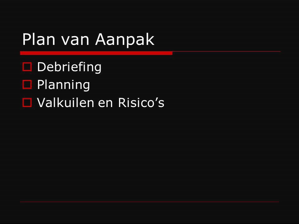 Plan van Aanpak  Debriefing  Planning  Valkuilen en Risico's
