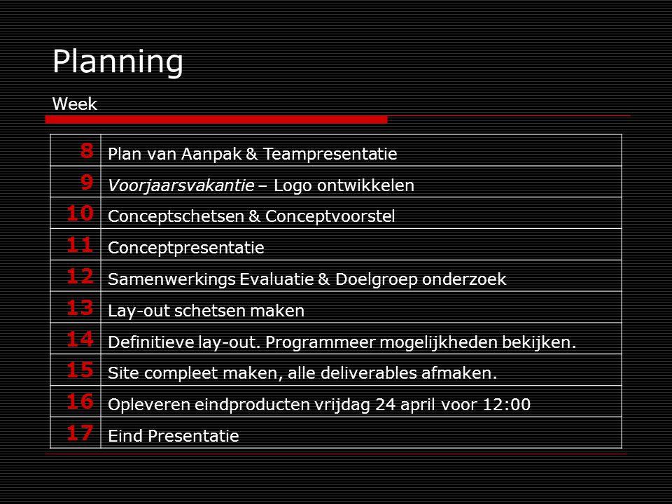 Planning 8 Plan van Aanpak & Teampresentatie 9 Voorjaarsvakantie – Logo ontwikkelen 10 Conceptschetsen & Conceptvoorstel 11 Conceptpresentatie 12 Samenwerkings Evaluatie & Doelgroep onderzoek 13 Lay-out schetsen maken 14 Definitieve lay-out.