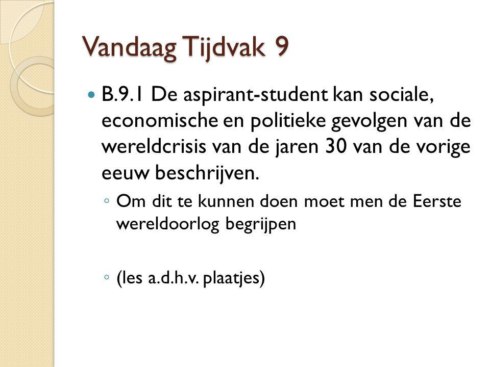 Vandaag Tijdvak 9 B.9.1 De aspirant-student kan sociale, economische en politieke gevolgen van de wereldcrisis van de jaren 30 van de vorige eeuw beschrijven.