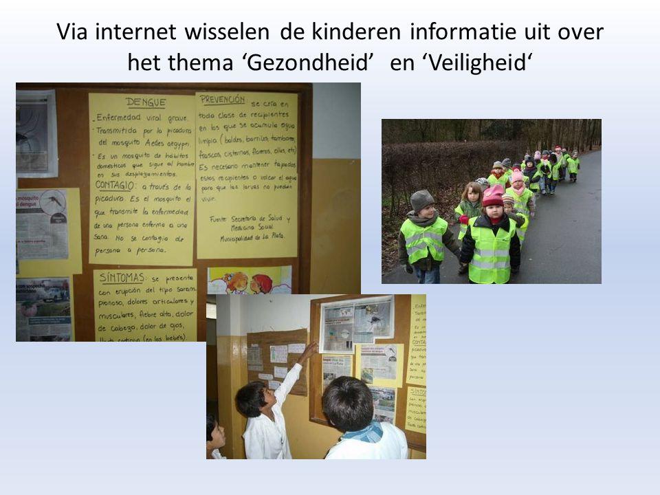 Via internet wisselen de kinderen informatie uit over het thema 'Gezondheid' en 'Veiligheid'