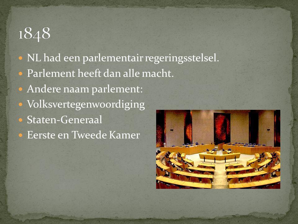 NL had een parlementair regeringsstelsel.Parlement heeft dan alle macht.