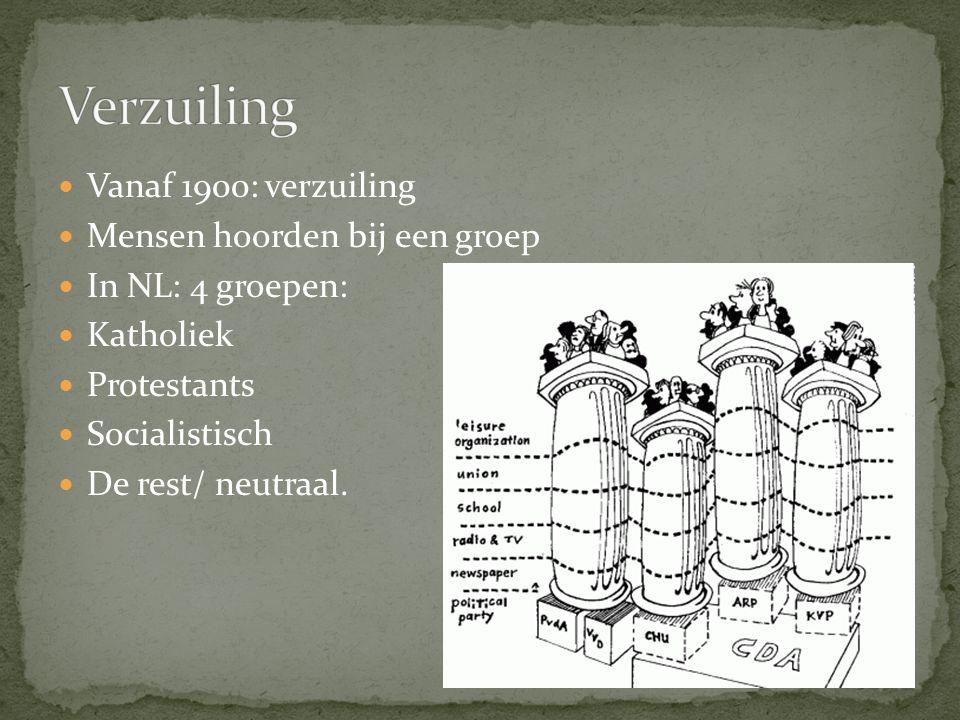 Vanaf 1900: verzuiling Mensen hoorden bij een groep In NL: 4 groepen: Katholiek Protestants Socialistisch De rest/ neutraal.