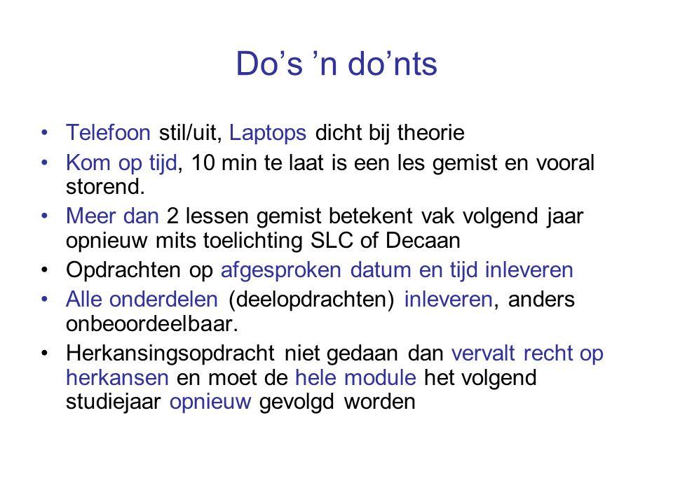 Do's 'n do'nts Telefoon stil/uit, Laptops dicht bij theorie Kom op tijd, 10 min te laat is een les gemist en vooral storend.