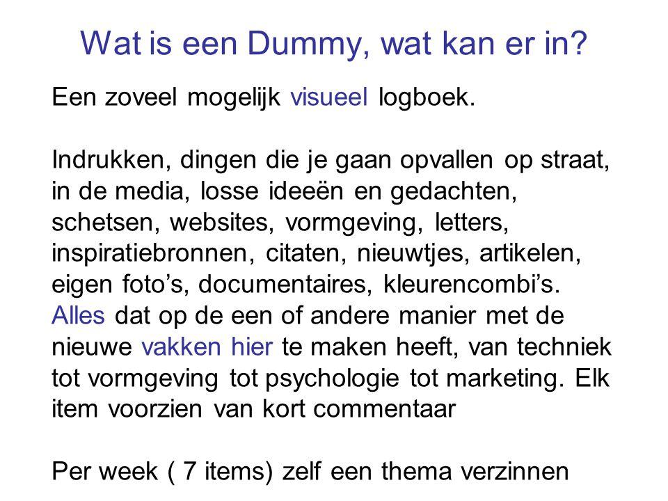 Wat is een Dummy, wat kan er in. Een zoveel mogelijk visueel logboek.