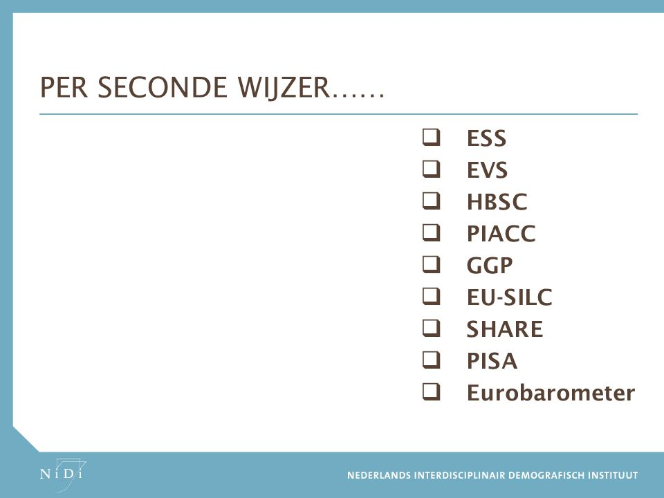  ESS  EVS  HBSC  PIACC  GGP  EU-SILC  SHARE  PISA  Eurobarometer