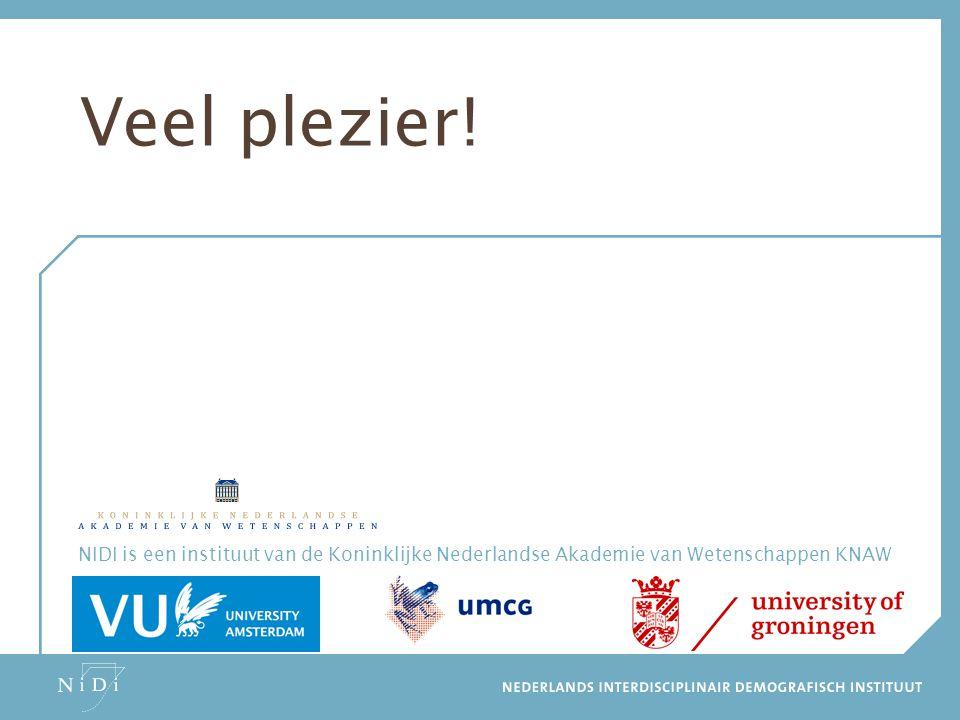NIDI is een instituut van de Koninklijke Nederlandse Akademie van Wetenschappen KNAW www.nidi.nl Veel plezier!