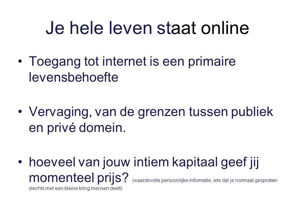 Je hele leven staat online Toegang tot internet is een primaire levensbehoefte Vervaging, van de grenzen tussen publiek en privé domein.