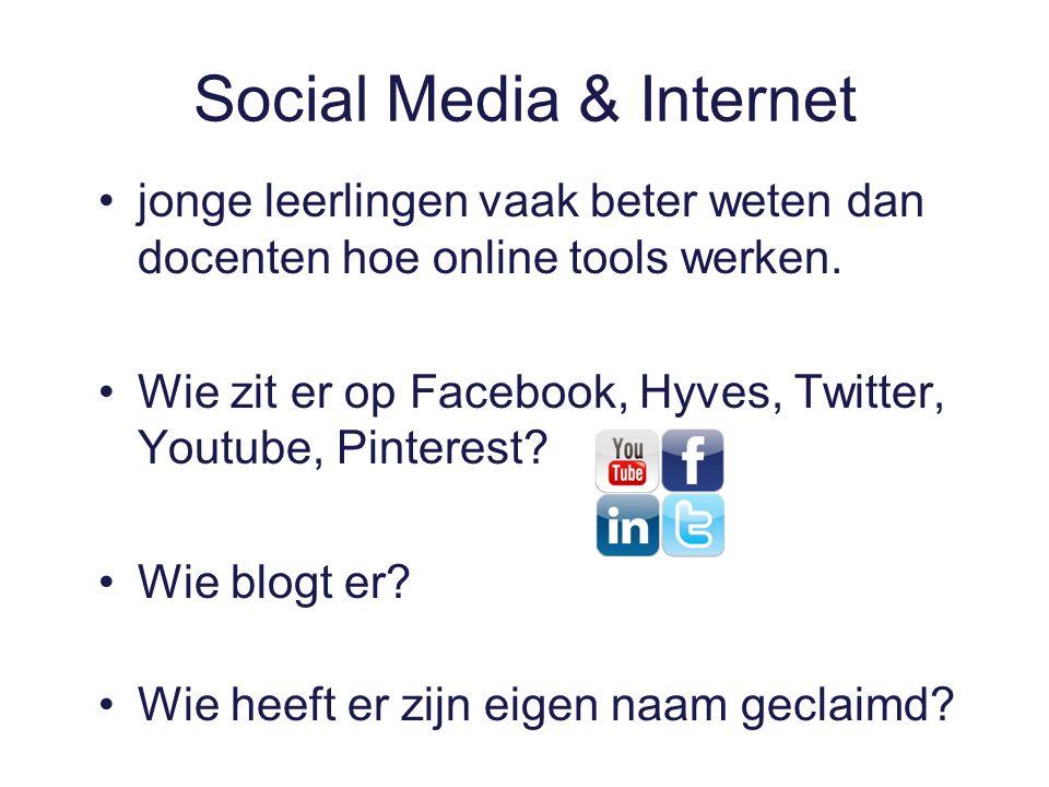 Social Media & Internet jonge leerlingen vaak beter weten dan docenten hoe online tools werken.