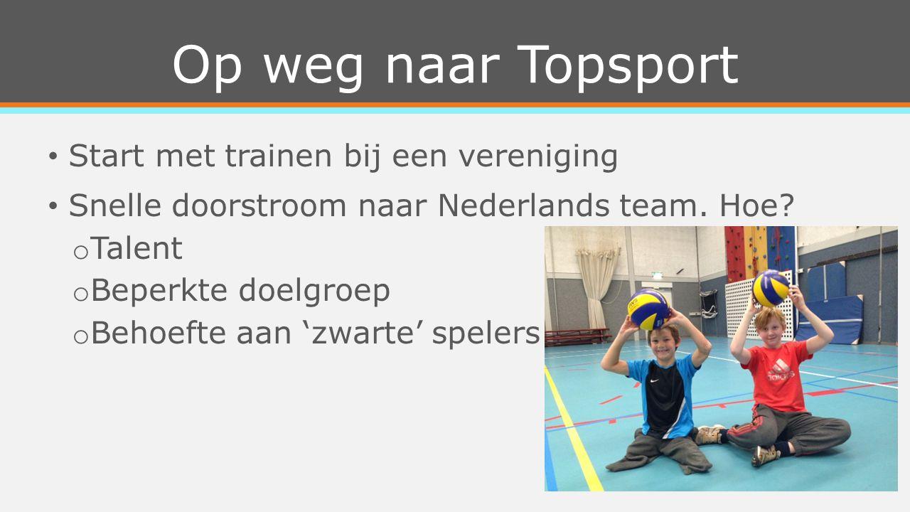 Op weg naar Topsport Start met trainen bij een vereniging Snelle doorstroom naar Nederlands team.