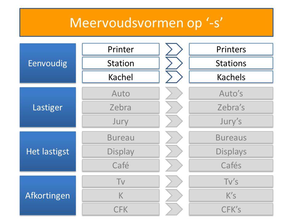 Meervoudsvormen op '-s' Eenvoudig Printer Printers Station Stations Kachel Kachels Lastiger Auto Auto's Zebra Zebra's Jury Jury's Het lastigst Bureau