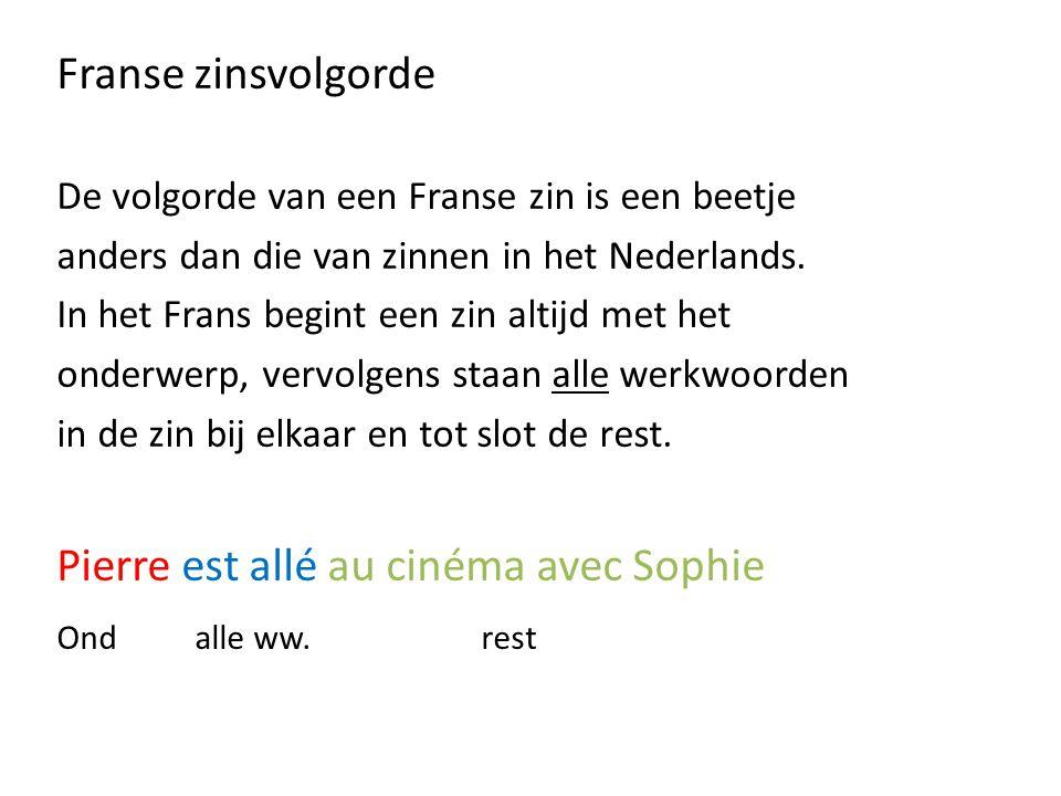 Franse zinsvolgorde De volgorde van een Franse zin is een beetje anders dan die van zinnen in het Nederlands.