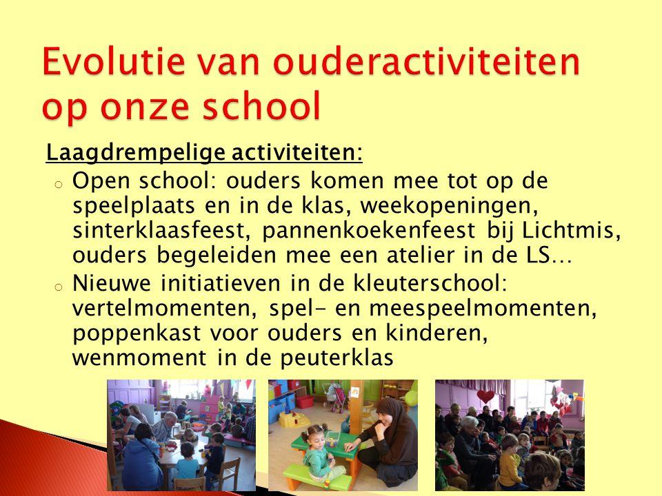 Laagdrempelige activiteiten: o Open school: ouders komen mee tot op de speelplaats en in de klas, weekopeningen, sinterklaasfeest, pannenkoekenfeest b