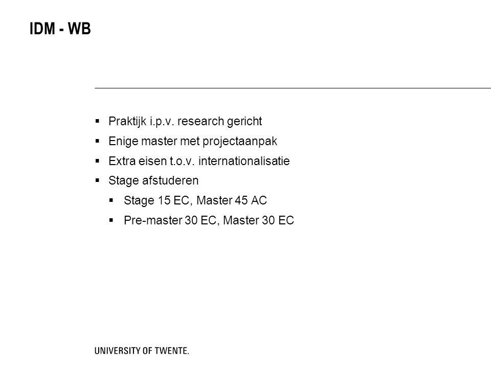 IDM - WB  Praktijk i.p.v. research gericht  Enige master met projectaanpak  Extra eisen t.o.v. internationalisatie  Stage afstuderen  Stage 15 EC