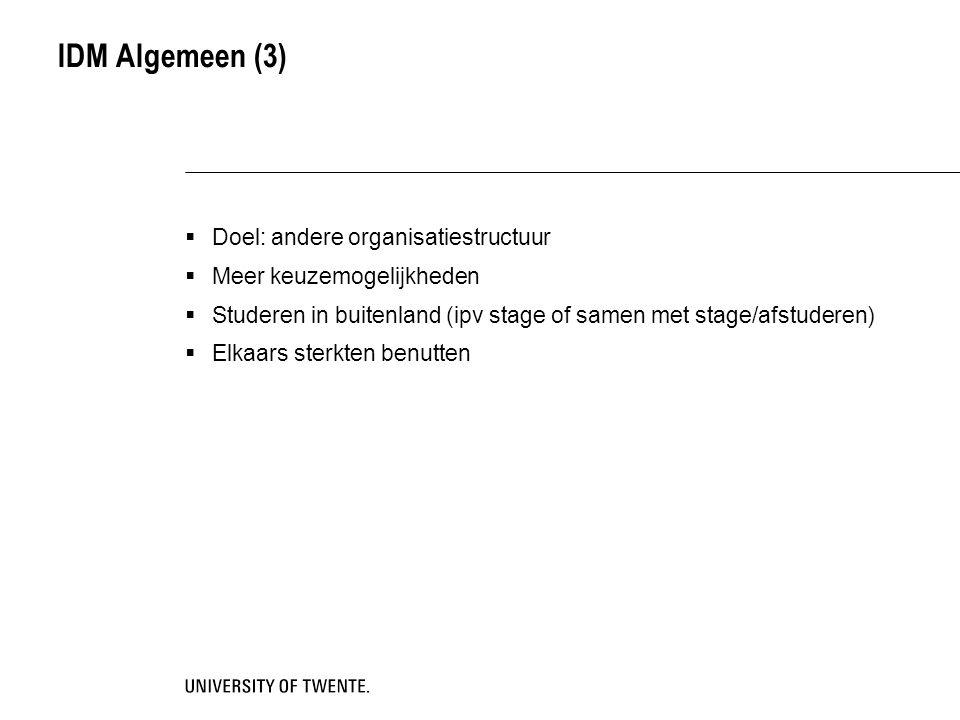 IDM Algemeen (3)  Doel: andere organisatiestructuur  Meer keuzemogelijkheden  Studeren in buitenland (ipv stage of samen met stage/afstuderen)  El