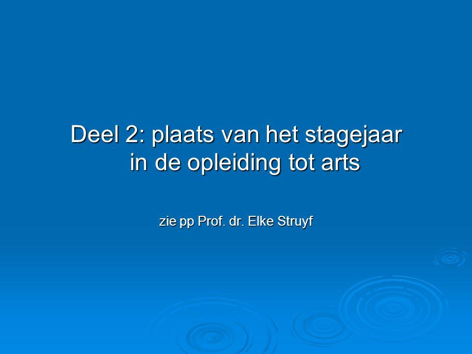 Deel 2: plaats van het stagejaar in de opleiding tot arts zie pp Prof. dr. Elke Struyf