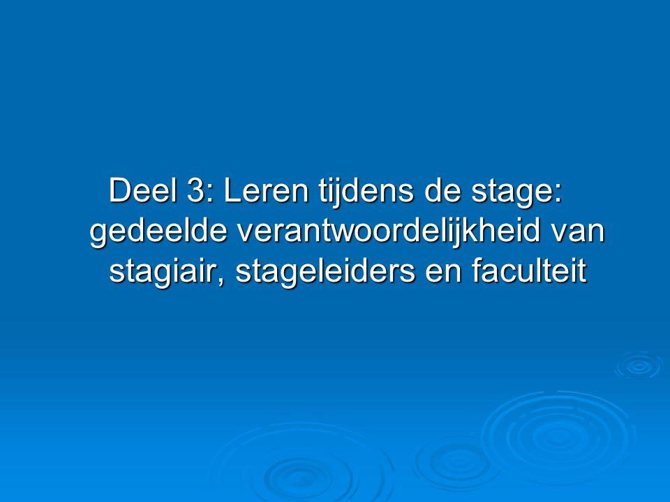 Deel 3: Leren tijdens de stage: gedeelde verantwoordelijkheid van stagiair, stageleiders en faculteit