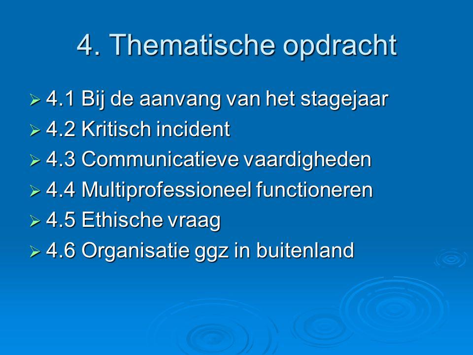 4. Thematische opdracht  4.1 Bij de aanvang van het stagejaar  4.2 Kritisch incident  4.3 Communicatieve vaardigheden  4.4 Multiprofessioneel func