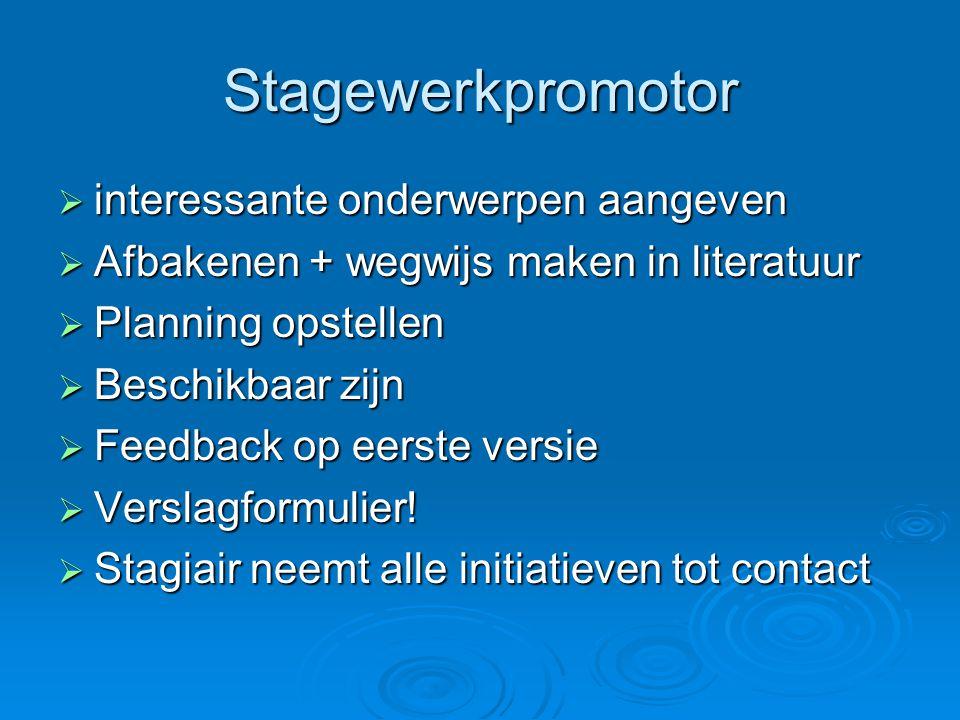 Stagewerkpromotor  interessante onderwerpen aangeven  Afbakenen + wegwijs maken in literatuur  Planning opstellen  Beschikbaar zijn  Feedback op eerste versie  Verslagformulier.