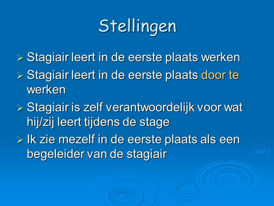 Stellingen  Stagiair leert in de eerste plaats werken  Stagiair leert in de eerste plaats door te werken  Stagiair is zelf verantwoordelijk voor wa