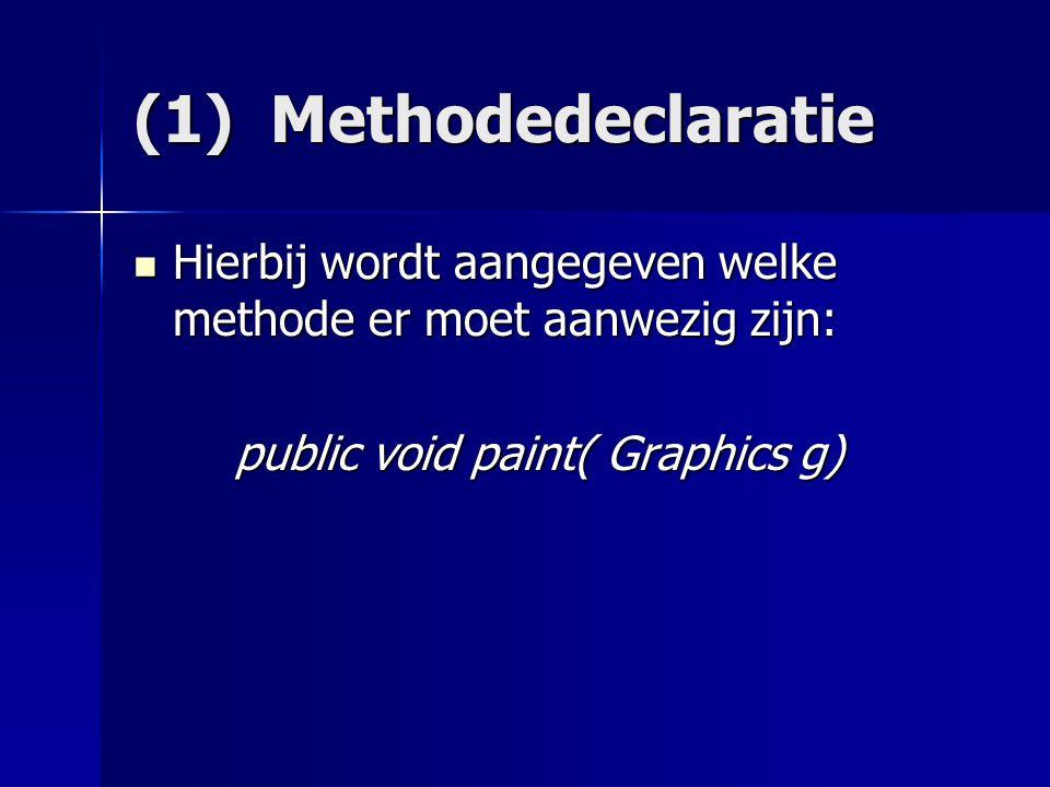(1) Methodedeclaratie Hierbij wordt aangegeven welke methode er moet aanwezig zijn: Hierbij wordt aangegeven welke methode er moet aanwezig zijn: public void paint( Graphics g) public void paint( Graphics g)