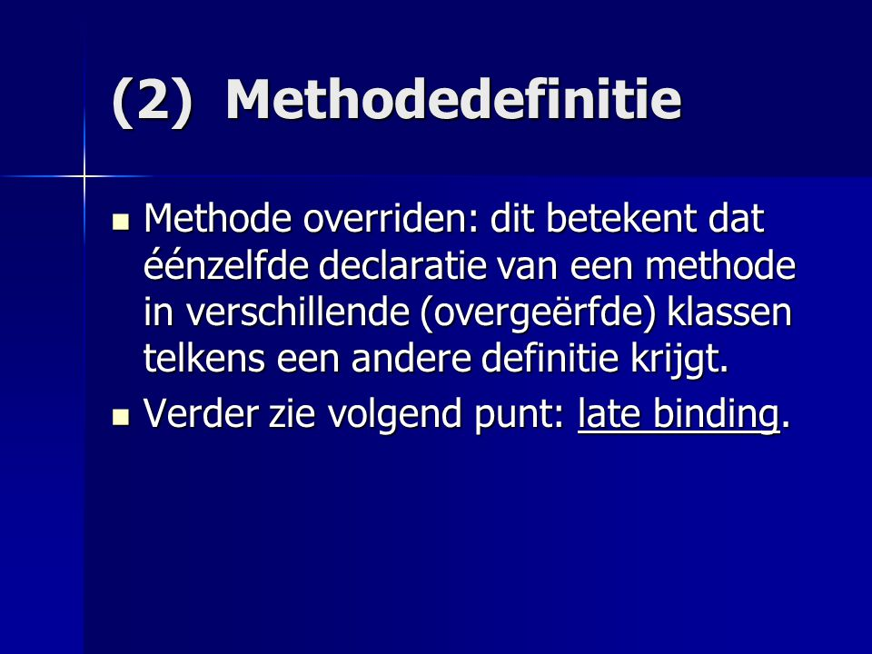 (4) Abstracte klassen = klasse met 1 of meerdere abstracte methoden = klasse met 1 of meerdere abstracte methoden Abstracte methode: methode wordt enkel gedeclareerd: Abstracte methode: methode wordt enkel gedeclareerd: public abstract class Demo { public abstract void teken(Graphics g); public int bereken( ) {return x1 + x2;} } abstracte methode