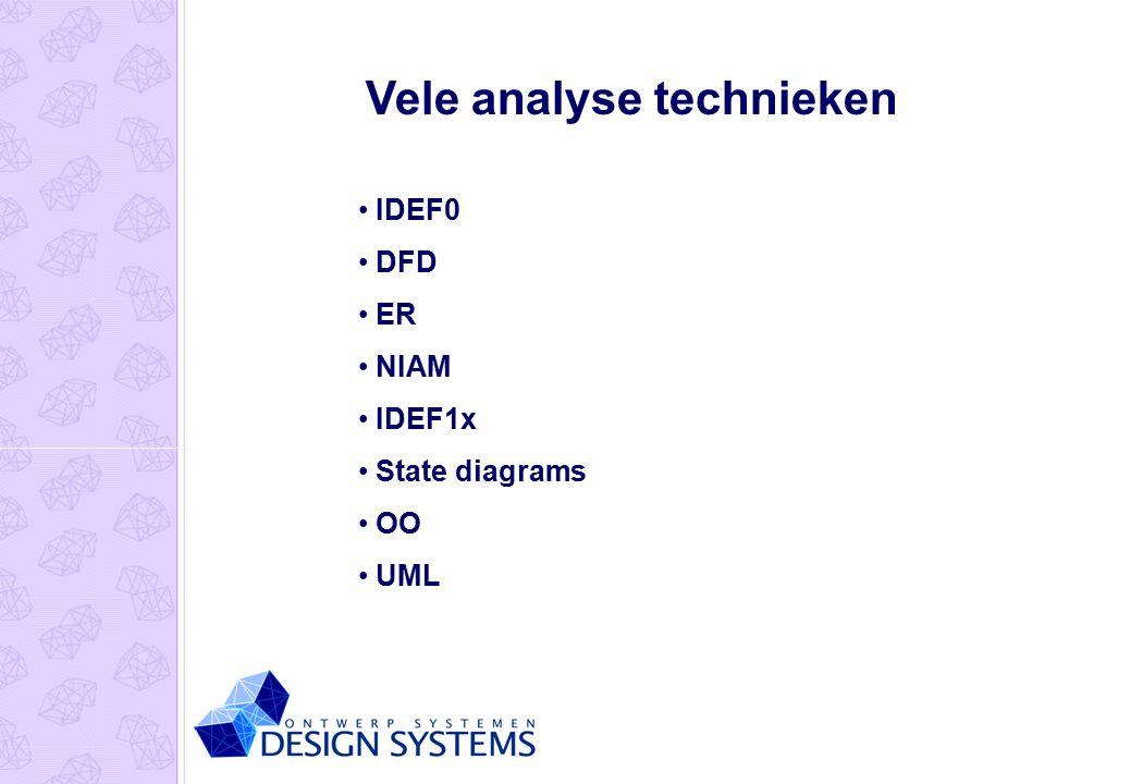 Vele analyse technieken IDEF0 DFD ER NIAM IDEF1x State diagrams OO UML