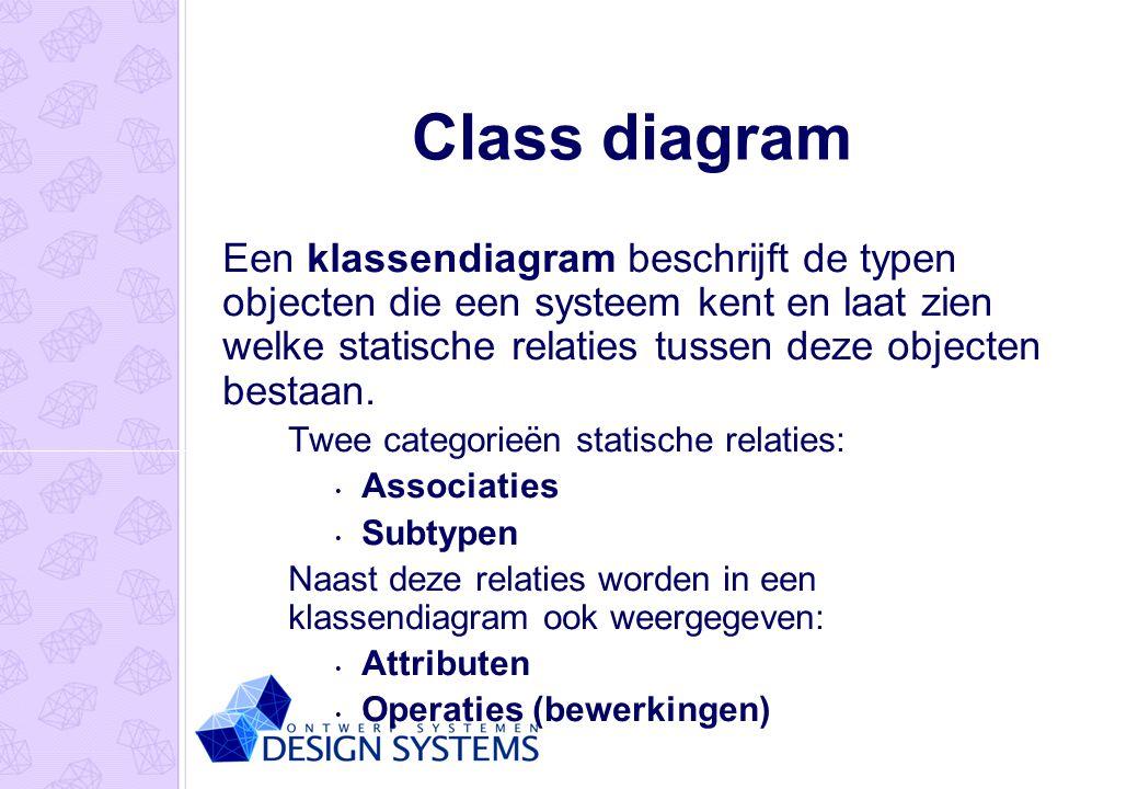 Class diagram Een klassendiagram beschrijft de typen objecten die een systeem kent en laat zien welke statische relaties tussen deze objecten bestaan.