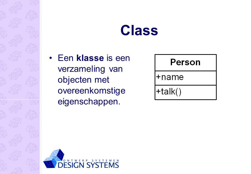 Class Een klasse is een verzameling van objecten met overeenkomstige eigenschappen.