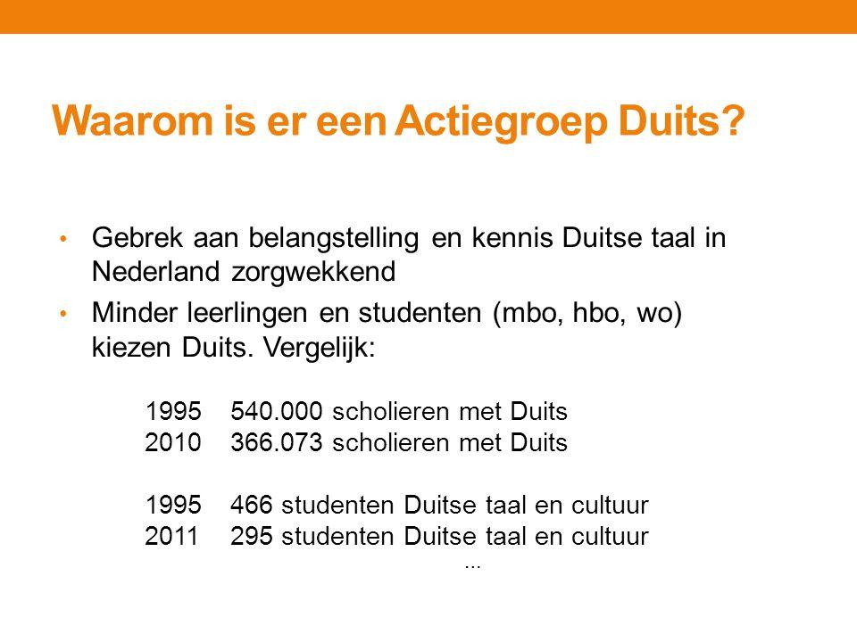 Waarom is er een Actiegroep Duits? … Gebrek aan belangstelling en kennis Duitse taal in Nederland zorgwekkend Minder leerlingen en studenten (mbo, hbo