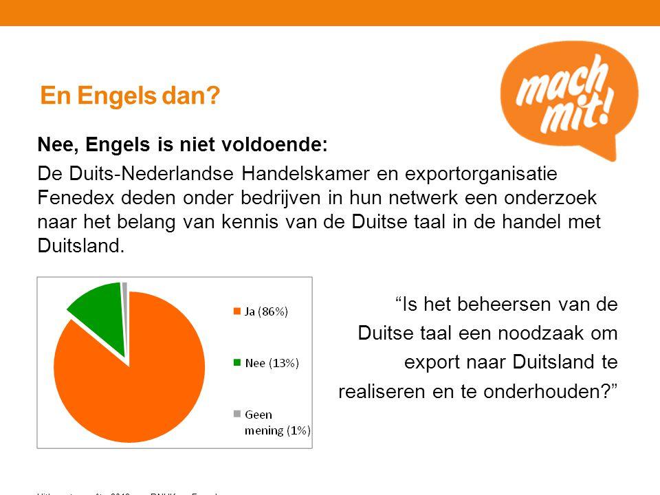 En Engels dan? Nee, Engels is niet voldoende: De Duits-Nederlandse Handelskamer en exportorganisatie Fenedex deden onder bedrijven in hun netwerk een