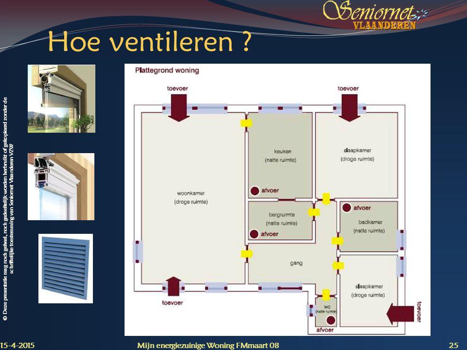 © Deze presentatie mag noch geheel, noch gedeeltelijk worden herbruikt of gekopieerd zonder de schriftelijke toestemming van Seniornet Vlaanderen VZW Hoe ventileren .