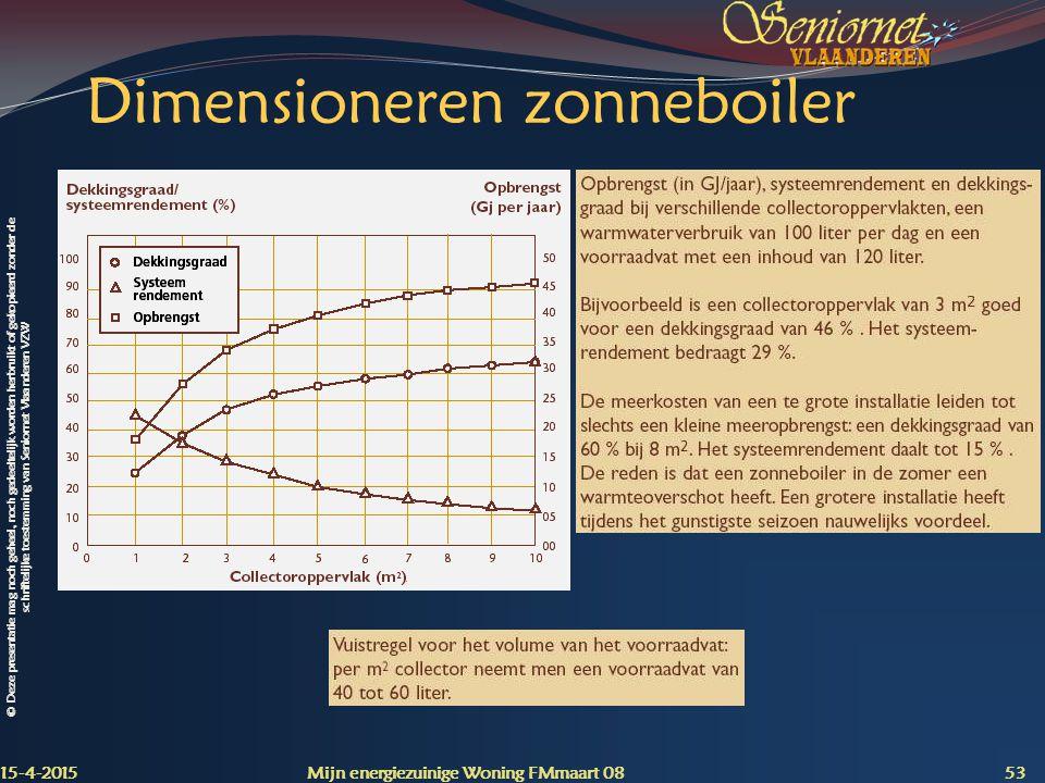 © Deze presentatie mag noch geheel, noch gedeeltelijk worden herbruikt of gekopieerd zonder de schriftelijke toestemming van Seniornet Vlaanderen VZW Dimensioneren zonneboiler 15-4-2015 Mijn energiezuinige Woning FMmaart 08 53