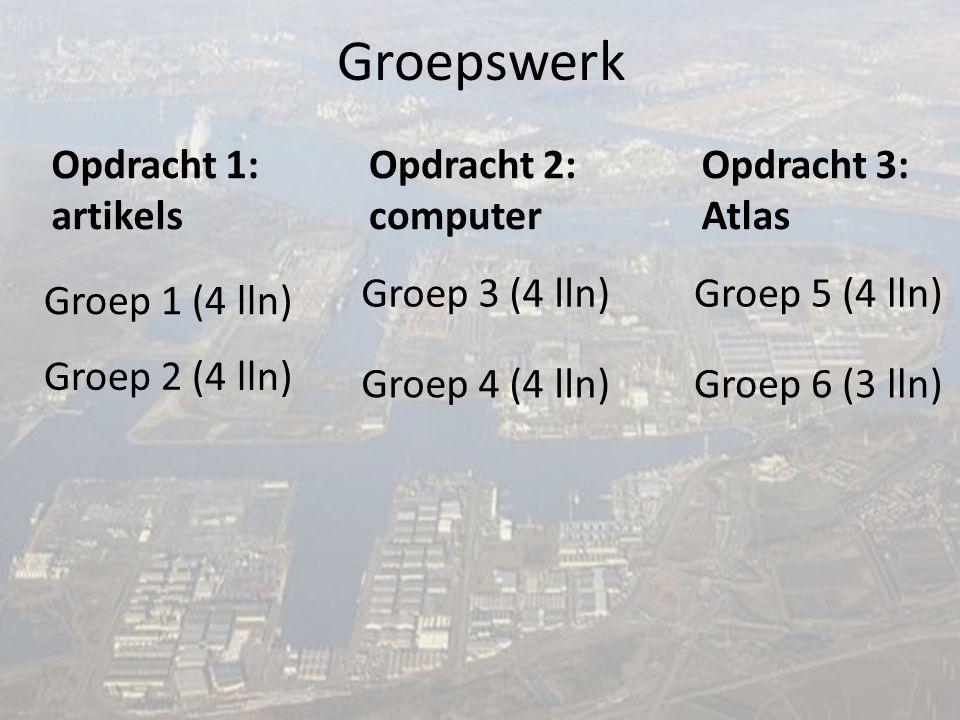 Groepswerk Groep 1 (4 lln) Groep 6 (3 lln) Groep 5 (4 lln) Groep 4 (4 lln) Groep 3 (4 lln) Groep 2 (4 lln) Opdracht 3: Atlas Opdracht 2: computer Opdr
