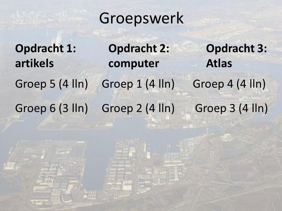 Groepswerk Groep 1 (4 lln) Groep 6 (3 lln) Groep 5 (4 lln) Groep 4 (4 lln) Groep 3 (4 lln) Groep 2 (4 lln) Opdracht 3: Atlas Opdracht 2: computer Opdracht 1: artikels